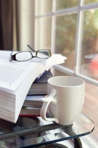Books, glasses, coffee