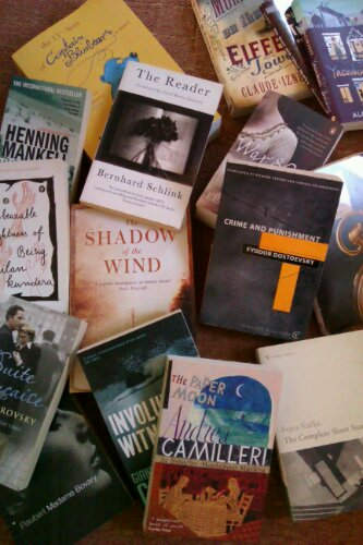 Pile of translated books