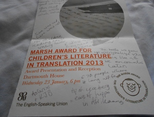 Marsh Award 2013