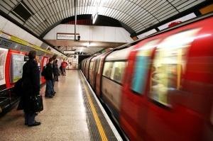 Baker Street station with Tube train