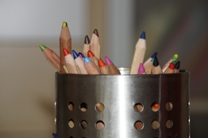 Coloured pencils in a pot