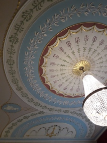 Ceiling and chandelier in the conference room at the GHI